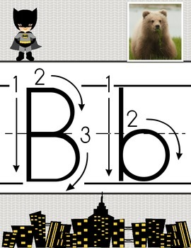 Super Hero Alphabet Card Set A-Z Primary Letters ABC Arrow Print