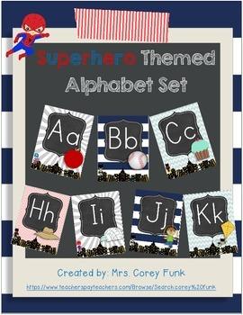 Super Hero Alphabet Card Set Superhero Themed ABC's Primary Letters