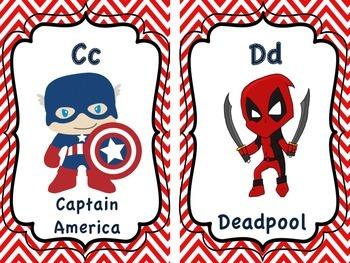 Super Hero Alphabet Cards