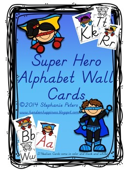 Super Hero D'Nealian Alphabet Line ~ Color/Black and White
