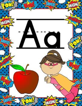 Superher Alphabet Posters