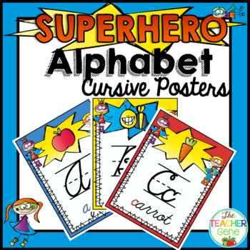 Super Hero Alphabet Posters {Cursive}
