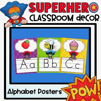 Alphabet Posters and Bunting {Superhero Classroom Decor Theme}