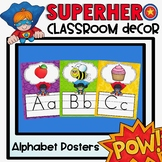 Alphabet Posters and Bunting in a Superhero Classroom Decor Theme