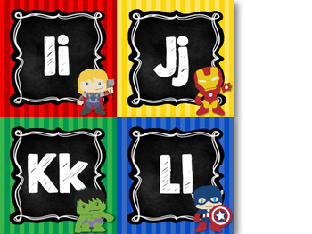 Super Hero Alphabet Word Wall Letters {Chalkboard & Bright Primary Stripes}