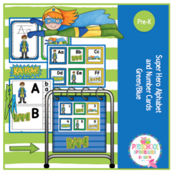 Super Hero Alphabet and Number Cards Green