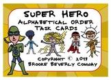 Super Hero Alphabetical Order Task Cards