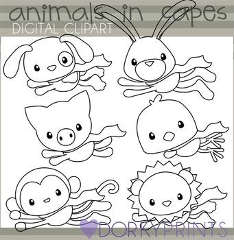 Super Hero Animals Black Line Clip Art