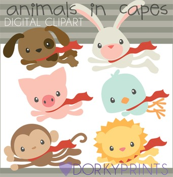 Super Hero Animals Digital Clip Art