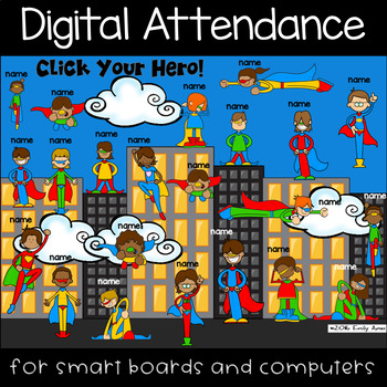 Smartboard Attendance Powerpoint: Super Heroes-Interactive White Boards