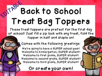 EDITABLE Super Hero Back to School Treat Topper