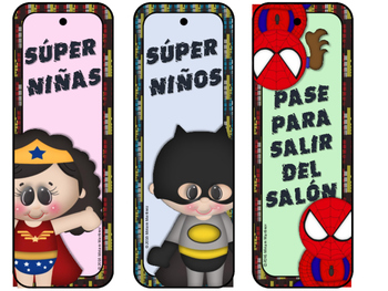 Super Hero Bathroom and Hall Passes in English and Spanish.