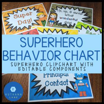 Editable Super Hero Behavior Chart (Clipchart)
