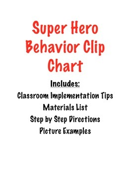 Super Hero Behavior Clip Chart