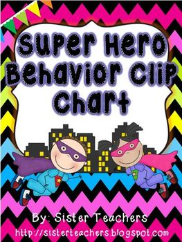 Super Hero Behavior Clip Chart {Bright Chevron on Black Background}