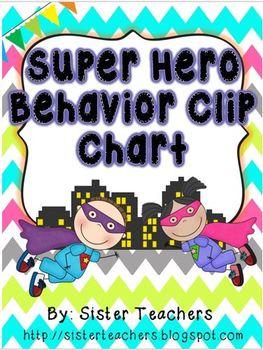 Super Hero Behavior Clip Chart {Bright Chevron on White Background}