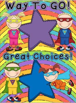 Super Hero Behavior Clip Chart {Glittery Rainbow Background}