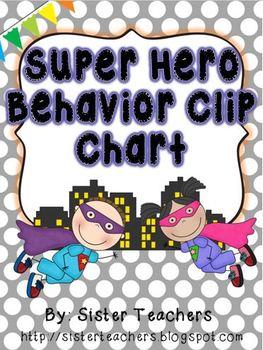 Super Hero Behavior Clip Chart {Polka Dots Background}