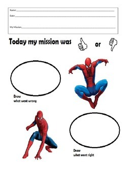 Super Hero Behavior Folder Sheet- Spiderman