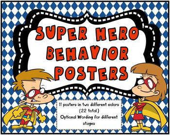 Super Hero Behavior Tracking Posters