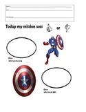 Super Hero Behavior sheet- Captain America Think Sheet
