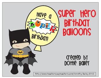 Super Hero Birthday Balloons