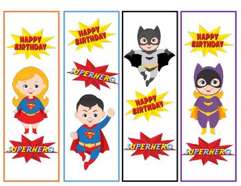 Super Hero Birthday Bookmarks