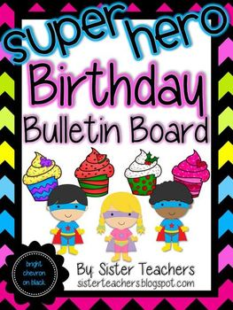 Super Hero Birthday Bulletin Board Pack *Bright Chevron on Black*