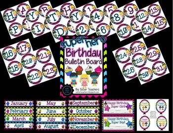 Super Hero Birthday Bulletin Board Pack *Bright Chevron on Black*