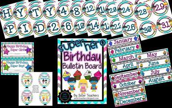 Super Hero Birthday Bulletin Board Pack *Bright Chevron on White*