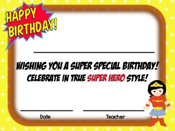 Super Hero Birthday Certificate