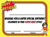 Super Hero Birthday Certificate