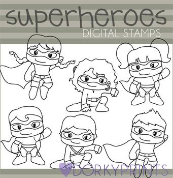 Super Hero Black Line Clip Art