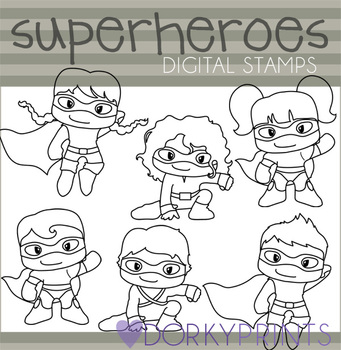 Super Hero Black Line Clip Art