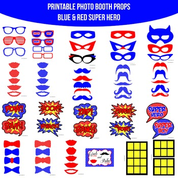 Super Hero Blue Printable Photo Booth Prop Set