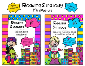 Super Hero Book Check-out and Reading Strategy Bookmarks