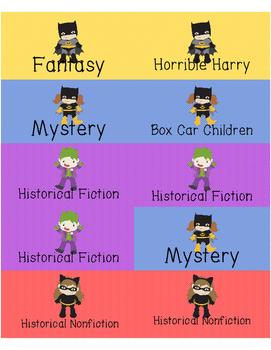 Super Hero Book Labels