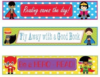Super Hero Bookmarks, Shelf Markers or Desk Name Plates - EDITABLE
