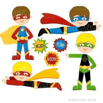 Super Hero Boys Cute Digital Clipart, Super Hero Clip Art