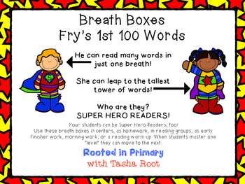 Super Hero Breath Boxes - Fry's 1st 100 words