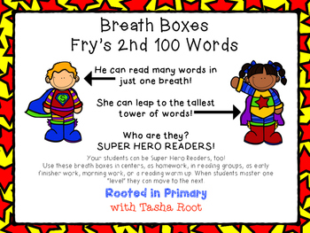 Super Hero Breath Boxes - Fry's 2nd 100 words