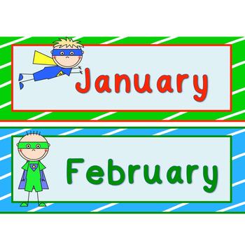 Super Hero Calendar Header & numbers