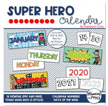 Super Hero Calendar Kit
