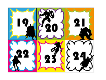 Super Hero Calendar Numbers
