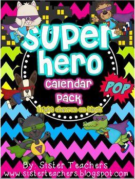 Super Hero Calendar Pack {Bright Chevron on Black background}