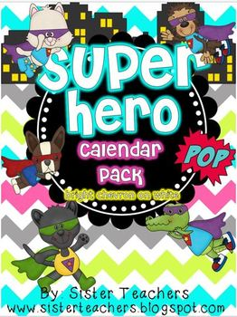 Super Hero Calendar Pack {Bright Chevron on White background}