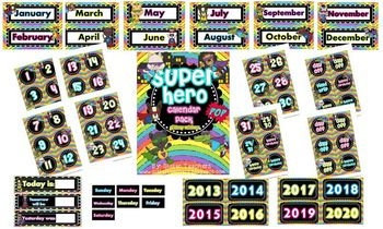 Super Hero Calendar Pack {Glittery Rainbow background}