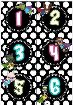 Super Hero Calendar Pack {Polka Dots background}