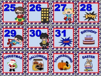 Super Hero Calendar Set.