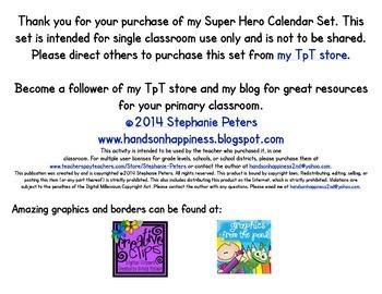 Super Hero Calendar Set